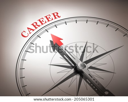 abstract compass needle pointing the word career in red and white tones - stock photo