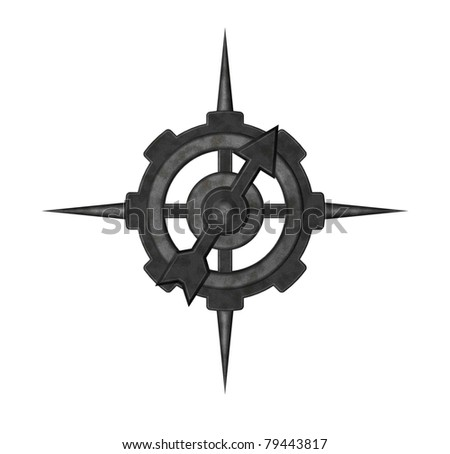 abstract compass on white background - 3d illustration