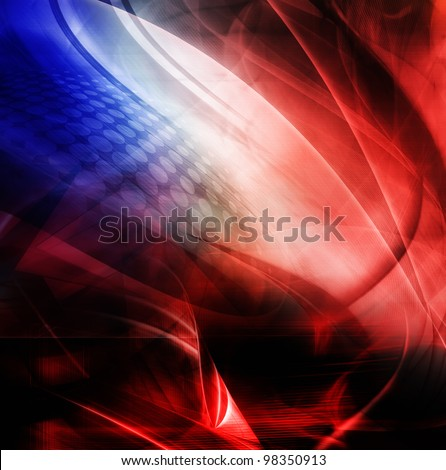 Abstract composition, blue and red color - stock photo