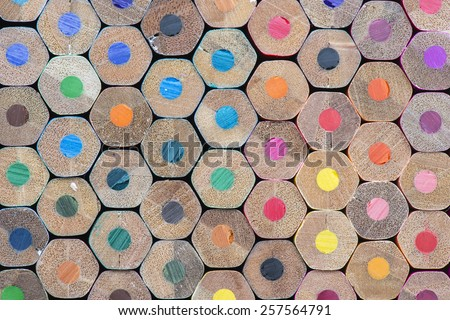 Abstract composition of a set wooden colour pencils  - stock photo