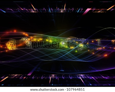 Abstract composition of abstract sine waves and design elements suitable as design element in projects related to modern computing, virtual reality and signal processing - stock photo