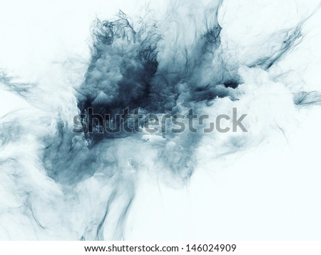 Abstract composition of bursting strands of fractal smoke and paint suitable as element in projects related to design, science, technology and creativity - stock photo