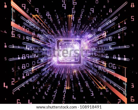 Abstract composition of computer chip, numeric and abstract elements suitable as design element in projects related to computers,  math and information technology - stock photo