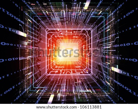 Abstract composition of CPU graphic and abstract design elements suitable as design element in projects related to digital equipment, computing and modern technologies - stock photo