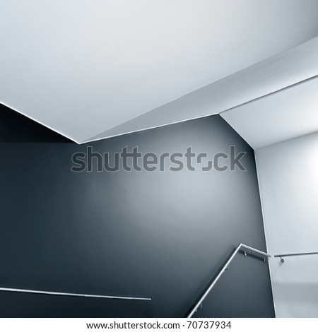 Abstract composition of empty modern building stairway.