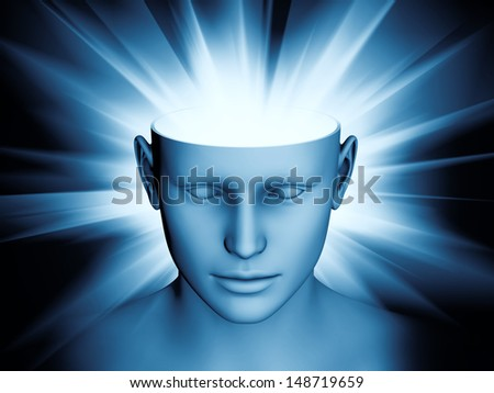 Abstract composition of human head and symbolic elements suitable as element in projects related to human mind, consciousness, imagination, science and creativity - stock photo