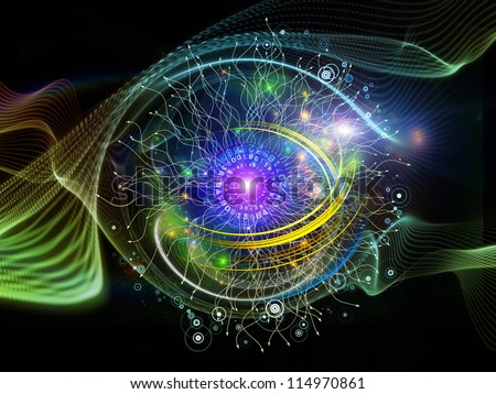 Abstract composition of technological design elements and circular turbulence suitable as design element in projects related to signal processing, communications and modern technology - stock photo