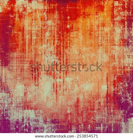 Abstract composition on textured, vintage background with grunge stains. With different color patterns: yellow (beige); red (orange); purple (violet); pink - stock photo