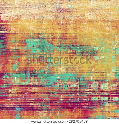 Abstract composition on textured, vintage background with grunge stains. With different color patterns: yellow (beige); brown; blue; purple (violet) - stock photo