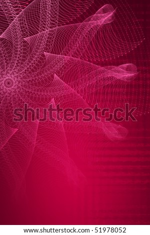 Abstract composition vaguely resembling a starfish shape, made up of lines and circles repeated in mathematical progressions. - stock photo
