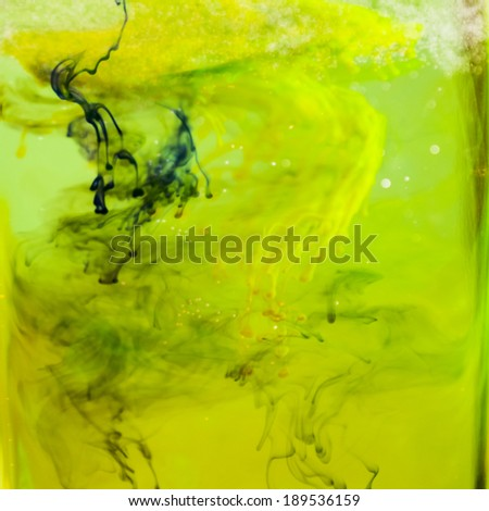 Abstract composition with blurred, colorful ink shapes - stock photo