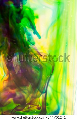 Abstract composition with ink and small bubbles. Beautiful background, texture and colors