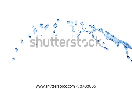 Abstract composition with long stream of blue flowing water on white background - stock photo