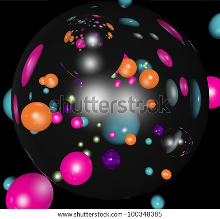 Abstract compositions from circles and spheres - stock photo