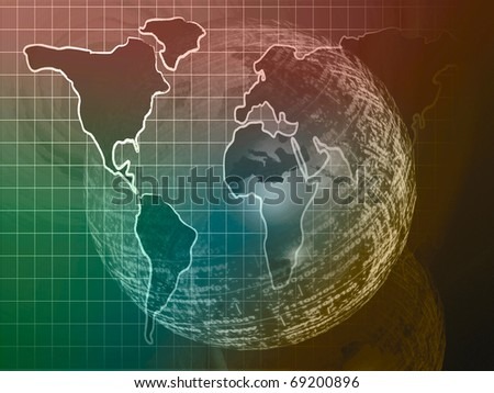 Abstract computer background - map and digital sphere.