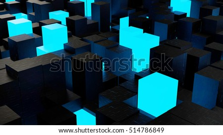Abstract computer background with blue illuminated. 3d rendering
