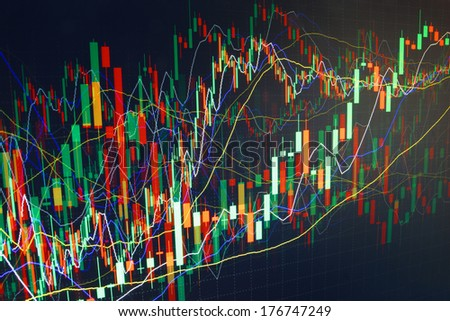 Abstract computer bit data of scrolling finance graph. - stock photo