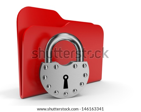 Abstract computer folder with padlock. 3D illustration. - stock photo