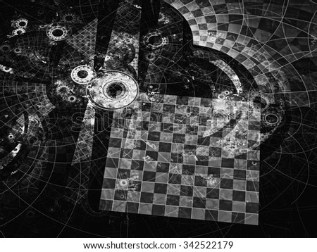Abstract computer-generated black and white image with grid and circles, reminiscent of the gear or parts of the futuristic mechanism - stock photo