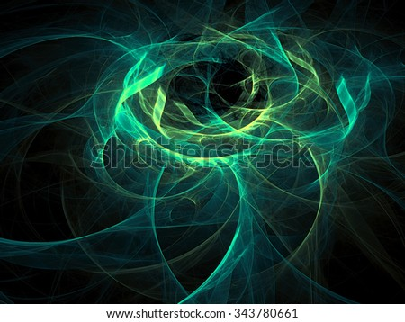 Abstract computer-generated image like clubs of smoke green wavy background  - stock photo