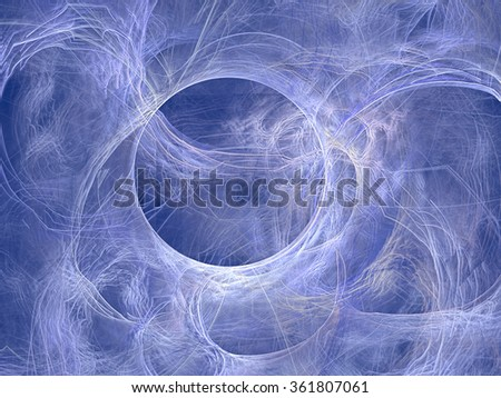 Abstract computer-generated image winter background with chaos curves and circle - stock photo
