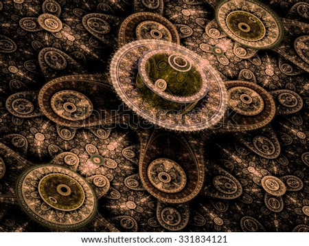 Abstract computer-generated image with rings ornament on a black background, resembling a mysterious mechanism, for example clockwork