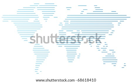 Abstract computer graphic World map of blue lines. Raster version. Vector version is also available. - stock photo