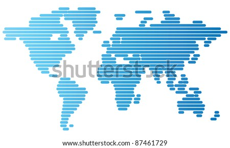 Abstract computer graphic World map of blue rounded lines. Raster version. Vector version is also available. - stock photo