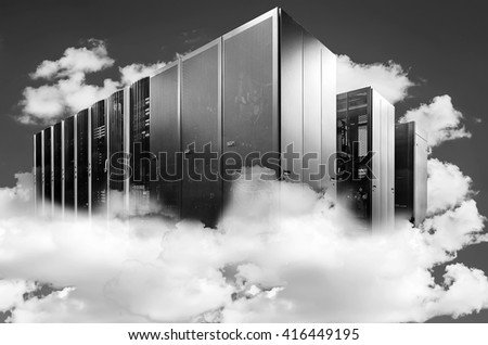 abstract Computer  in a cloudy sky as a symbol for cloud-computing  - stock photo