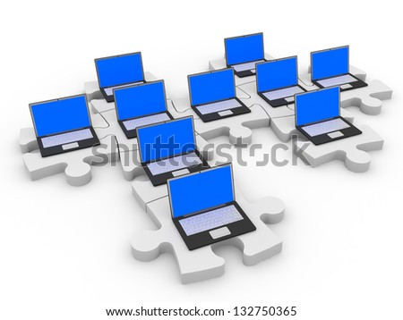 Abstract computer network of puzzle pieces on white background. 3D illustration.