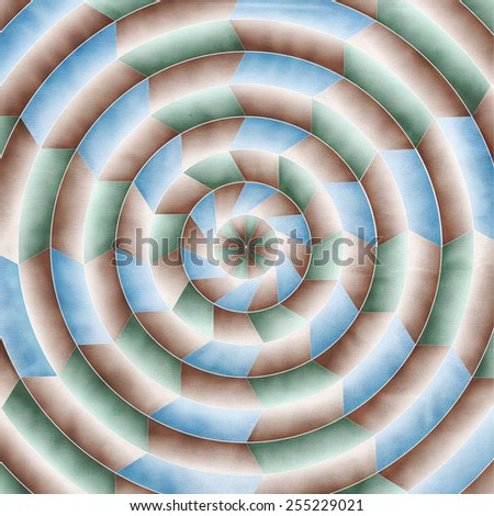 abstract concentric circle background with blue green and brown shapes. - stock photo