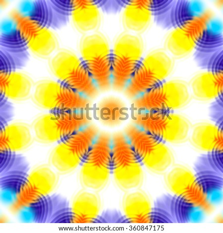 Abstract concentric pattern with color spots and ripples - stock photo