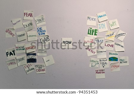 Abstract concept illustrating positives and negatives emotions, traits, and actions. - stock photo