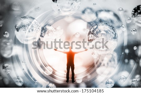 Abstract concept illustration with man inside fantasy background - stock photo