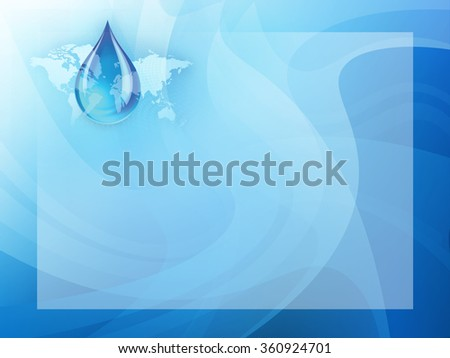 Abstract concept indicating a world wide fresh water crisis and shortage with a droplet of water suspended over a global map with swirling dots presentation background template. - stock photo