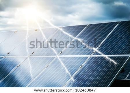 abstract concept of power plant using renewable solar energy with abstract storm and sun