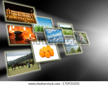 Abstract concept with collage of photos - stock photo