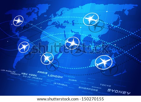 abstract concept world aviation directions blue business background - stock photo