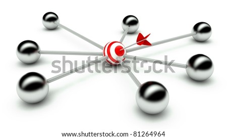 Abstract conception of network and leadership, communication 3d - stock photo