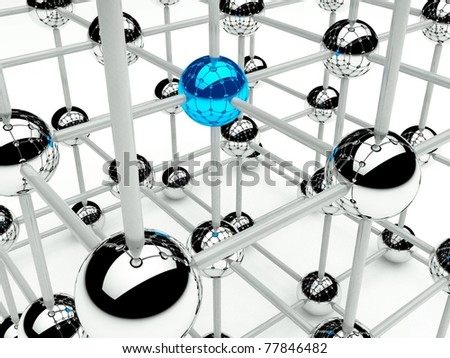 Abstract conception of structure network and communication 3d - stock photo