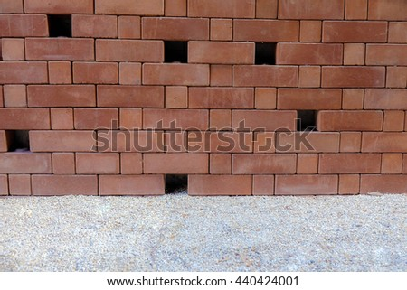 Abstract conceptual brick wall with the hole and sand backgrounds