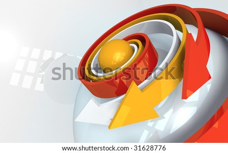 Abstract conceptual composition of a 3D arrows with reflective surfaces expanding  from a spherical core, in a spiral fashion, metaphor for expansion, development and evolution - stock photo