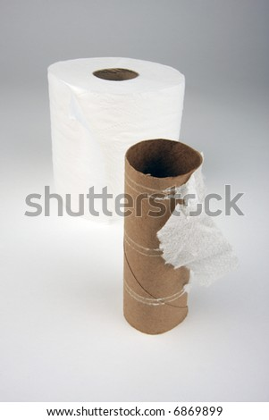 Abstract Conceptual Empty and Full Toilette Paper Rolls