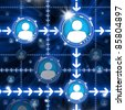 Abstract conceptual illustration of network. Communications between personal symbols - stock photo