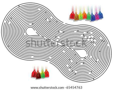 abstract conceptual maze against white background, art illustration; for vector format please visit my gallery