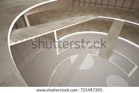 Abstract  concrete and wood interior multilevel public space with neon lighting. 3D illustration and rendering.
