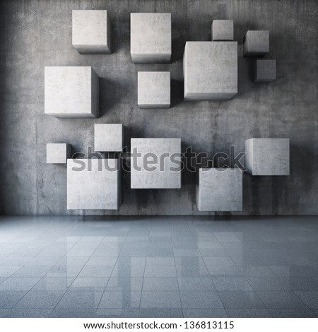 Abstract concrete cubes in the interior - stock photo