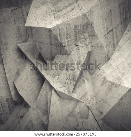Abstract concrete 3d background with chaotic polygonal relief pattern on the wall - stock photo