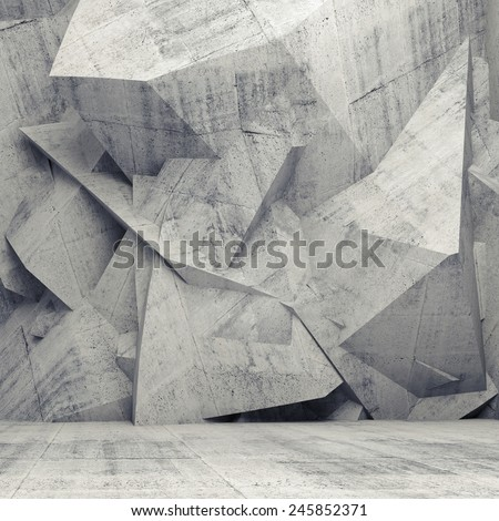 Abstract concrete 3d interior with chaotic polygonal relief pattern on the wall