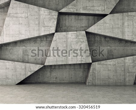 Abstract concrete geometric background. 3D render - stock photo